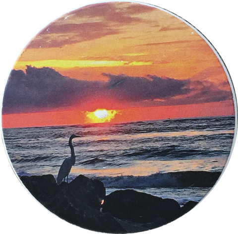 "Sunrise Vilano Beach Bird On Jetty Absorbent Stone Car Auto Coaster 2.5"" St Augustine Cup Holder - RecoveryChip"