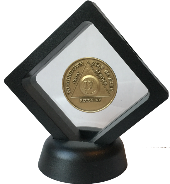 Black Diamond AA Medallion Display Sobriety Chip Challenge Coin Holder Stand - RecoveryChip