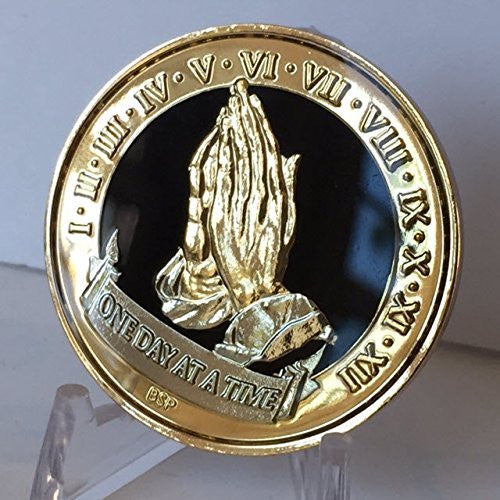 One Day At A Time Praying Hands Black Gold Plated Nickel Tri-Plated AA Alcoholics Anonymous Medallion Sobriety Chip Years 1 2 3 4 5 6 7 8 9 10 11 12 Year 1-12 BSP - RecoveryChip