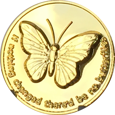 Butterfly If Nothing Changed There'd Be No Butterflies Gold Tone Medallion Chip RecoveryChip Design - RecoveryChip