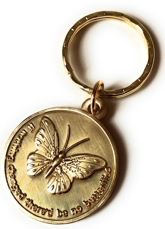 If Nothing Changed There'd Be No Butterflies Keychain Serenity Prayer Key Tag - RecoveryChip
