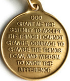 Color Rainbow Butterfly One Day At A Time Keychain Serenity Prayer Bronze - RecoveryChip