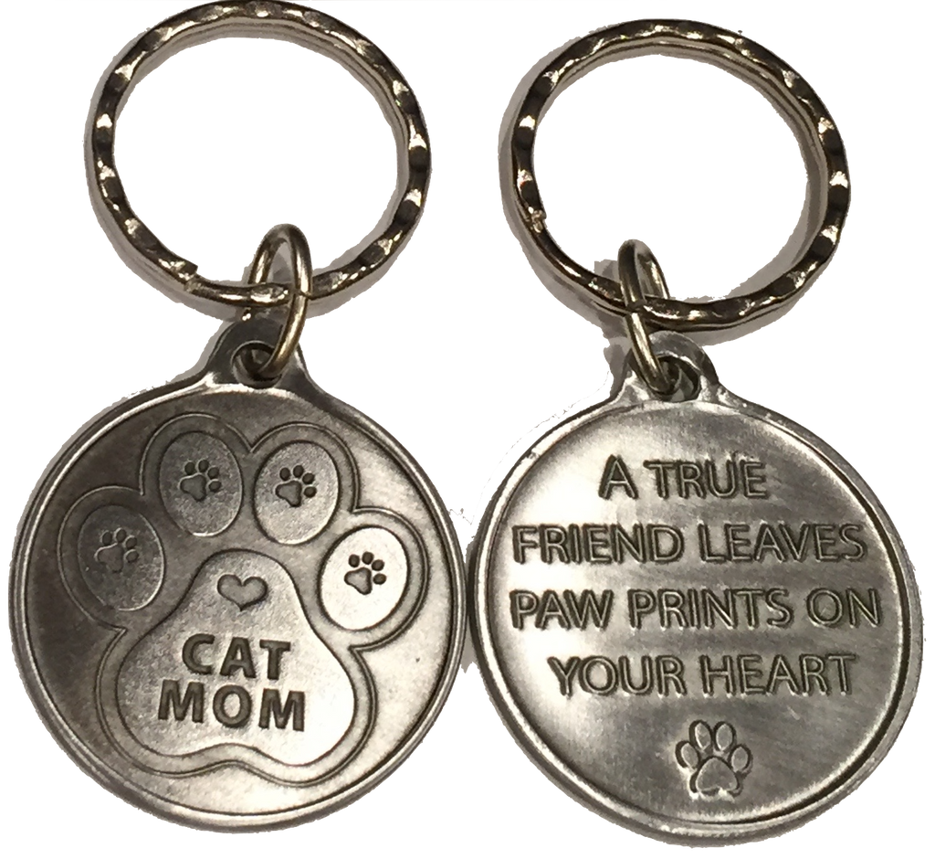 Cat Mom - A True Friend Pet Keychain Pewter Color RecoveryChip Design - RecoveryChip