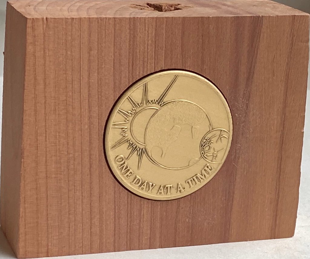 Cedar Medallion Holder Coin Display Handmade With Universe One Day At A Time Chip