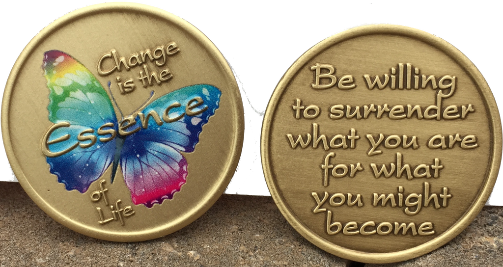 Change Is The Essence Of Life Color Rainbow Butterfly Surrender Medallion Chip - RecoveryChip