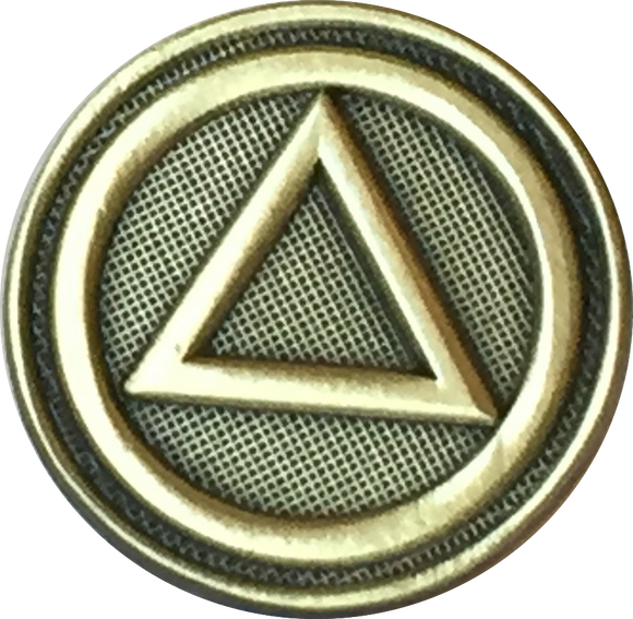 AA Logo Circle Triangle Lapel Pin Alcoholics Anonymous Sobriety Badge RecoveryChip Design - RecoveryChip