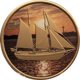 Sailing We Can't Control The Wind We Can Only Adjust Our Sails Color Medallion Schooner Sailboat Chip - RecoveryChip