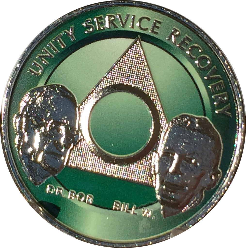 AA Founders Any Year 1 - 65 Medallion Green & Nickel Plated Chip Bill W Dr Bob - RecoveryChip