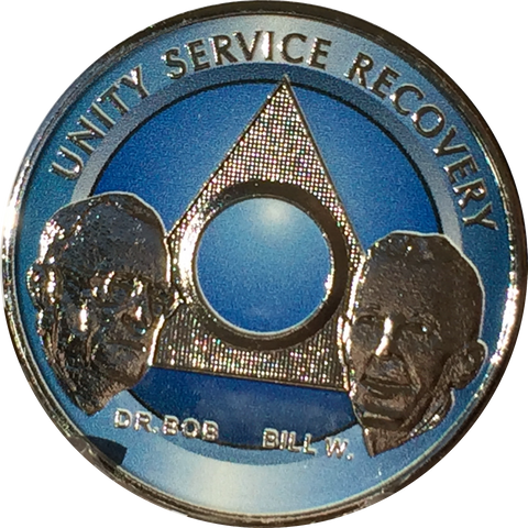 AA Founders Any Year 1 - 65 Medallion Ocean Breeze Blue & Nickel Plated Chip Bill W Dr Bob - RecoveryChip