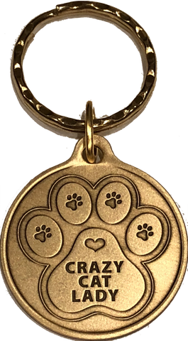Crazy Cat Lady - A True Friend Dog Pet Keychain Bronze RecoveryChip Design - RecoveryChip