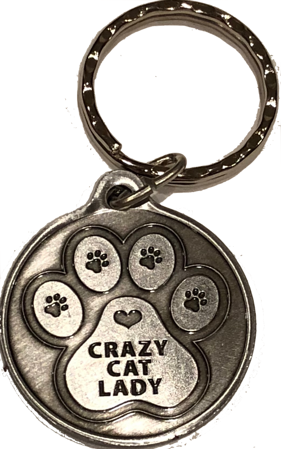 Crazy Cat Lady - A True Friend Dog Pet Keychain Pewter Color RecoveryChip Design - RecoveryChip