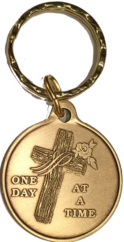 Wood Cross With Rose One Day At A Time Keychain AA NA - RecoveryChip