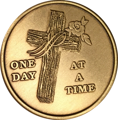 Wood Cross With Rose One Day At A Time Medallion Sobriety Chip AA NA - RecoveryChip