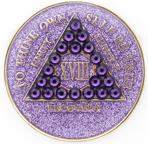 Crystallized AA Medallion Purple Glitter Tri-Plate Sobriety Chip Year 1 - 50 - RecoveryChip