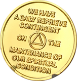 God's Will = Daily Reprieve = Freedom - AA Alcoholics Anonymous Spiritual Condition Gold Plated Sobriety Medallion RecoveryChip Design - RecoveryChip