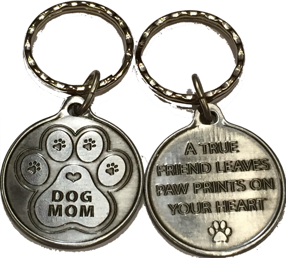 Dog Mom - A True Friend Dog Pet Keychain Pewter Color RecoveryChip Design - RecoveryChip