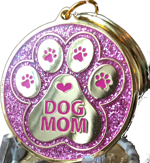 Dog Mom Paw Print Keychain Pink Glitter Gold Plated Pawprint Heart Design - RecoveryChip