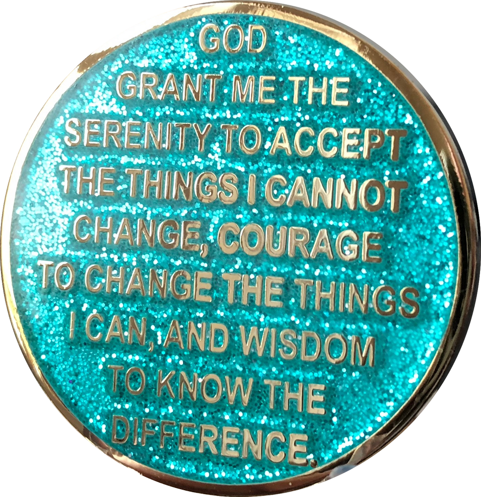 1 2 3 6 9 or 18 Month AA Medallion Reflex Aqua Glitter Gold Plated Sobriety Chip