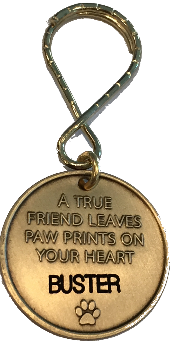 Engraved Name Pet Dog Always Remembered Forever Loved Memorial Keychain Coin - RecoveryChip