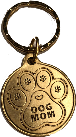Engraved Dog Mom - A True Friend Dog Pet Keychain RecoveryChip Design - RecoveryChip