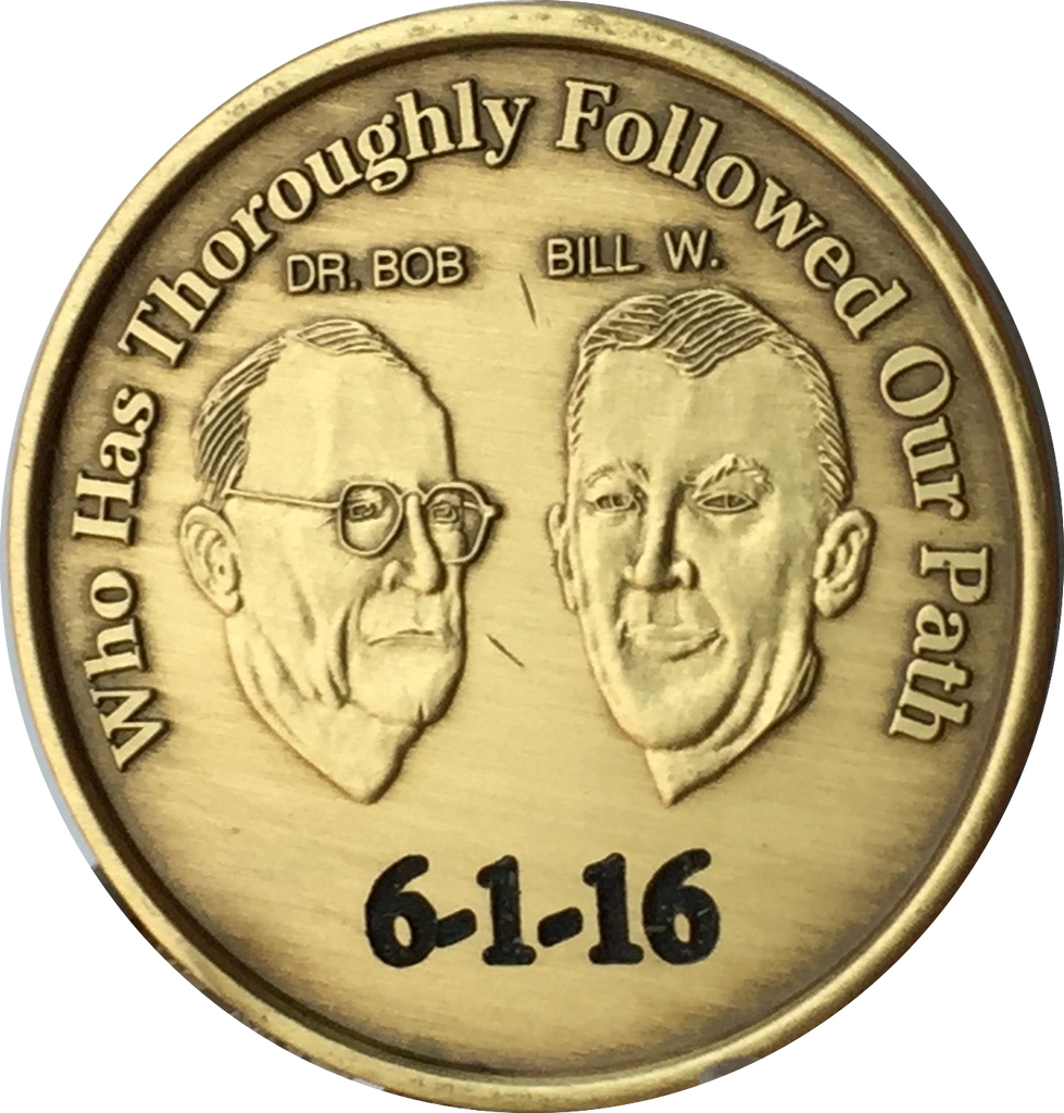 Alcoholics Anonymous AA Founders 2 Year Bronze Medallion Coin Chip Bill W /& Bob