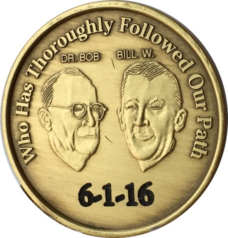 Engraved Personalized AA Founders Bill & Bob Bronze Medallion Sobriety Chip - RecoveryChip