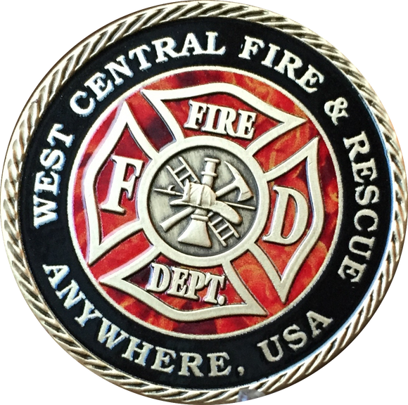 Set of 10 or 20 Customized Fire House & City Pewter Color Fireman Challenge Coin 1 9/16