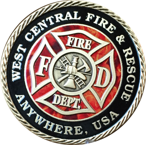 "Set of 10 or 20 Customized Fire House & City Pewter Color Fireman Challenge Coin 1 9/16"" Fire Fighter Medallion - RecoveryChip"