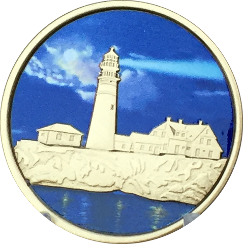 Fog Light Prayer Color Light House AA Medallion Bronze Foglight Sobriety Chip Recoverchip Design - RecoveryChip