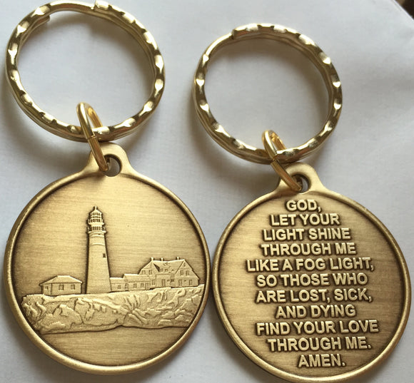 Fog Light Prayer Keychain Light House AA Medallion Bronze Foglight Recoverychip Design - RecoveryChip