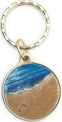 Foot Prints In The Sand Tropical Blue on Bronze It Was Then That I Carried You Keychain - RecoveryChip
