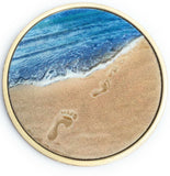 Tropical Blue Footprints In The Sand Bronze Medallion Chip Pocket Token - RecoveryChip
