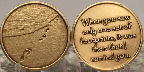 Footprints In The Sand Bronze Medallion Chip Pocket Token RecoveryChip Design - RecoveryChip