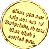 Footprints In The Sand Gold Plated Medallion Chip Pocket Token RecoveryChip Design - RecoveryChip