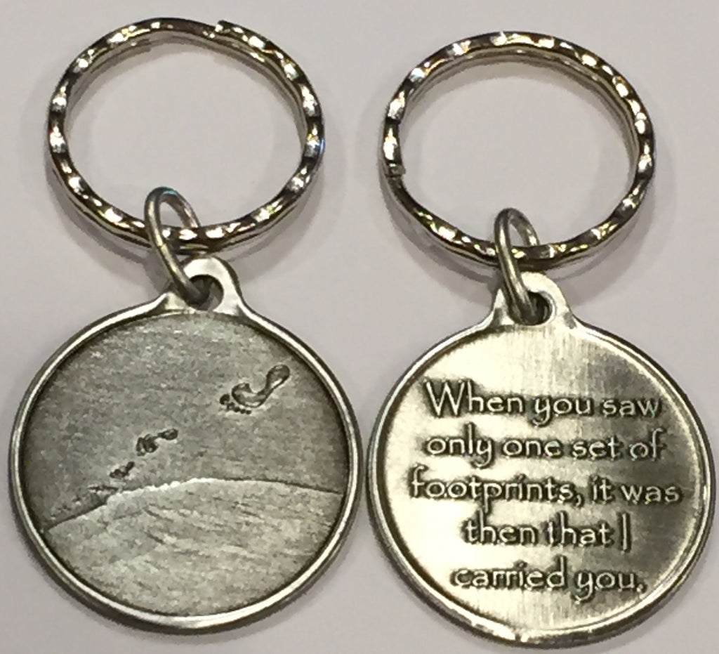 Foot Prints In The Sand Pewter Color It Was Then That I Carried You Keychain - RecoveryChip