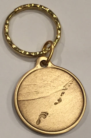 Foot Prints In The Sand Bronze It Was Then That I Carried You Keychain - RecoveryChip