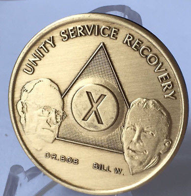 AA Founders Medallion Sobriety Chip Year 1 - 55  or Month 1 -11 18 24 Hours Bill W & Dr Bob Bronze - RecoveryChip