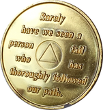 AA Founders Gold Plated Chip Green Alcoholics Anonymous Medallion  Any Year 1 - 65 - RecoveryChip