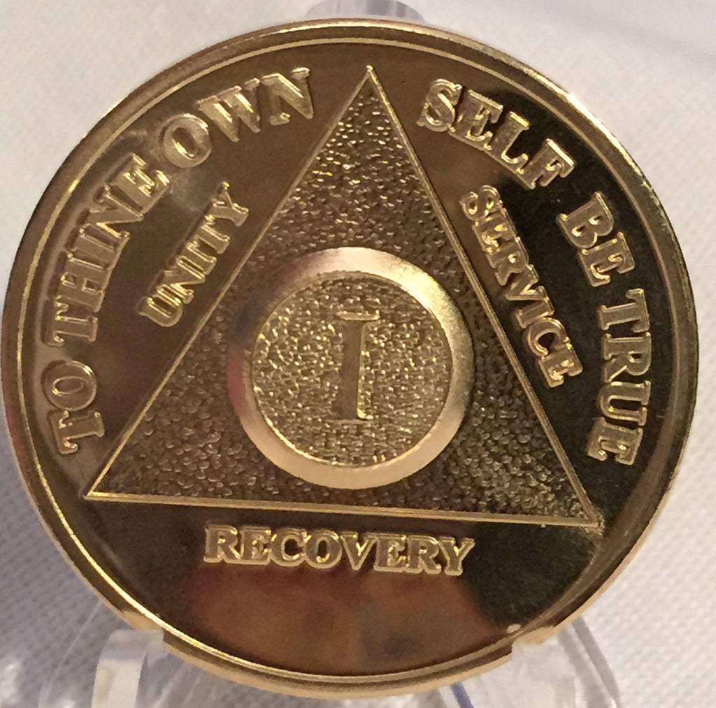 Gold Plated AA Medallion Year 1 - 65 Available 24k Sobriety Chip With Serenity Prayer - RecoveryChip