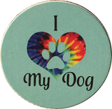I Heart My Dog Love Paw Print Auto Car Coaster Absorbent Stone - RecoveryChip