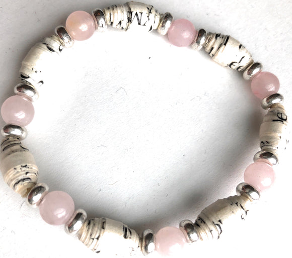 AA Big Book Bracelet Pink & Silver Beads Made From Real Pages From The Big Book - RecoveryChip