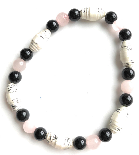 AA Big Book Bracelet Pink & Black Beads Made From Real Pages From The Big Book - RecoveryChip