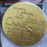 To Thine Own Self Be True AA Medallion Auto Car Coaster Absorbent Stone RecoveryChip Design - RecoveryChip