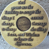 Serenity Prayer Back AA Medallion Auto Car Coaster Absorbent Stone RecoveryChip Design - RecoveryChip