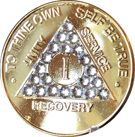 Swarovski Crystal AA Medallion Gold Plated Sobriety Chip Year 1 - 56 - RecoveryChip