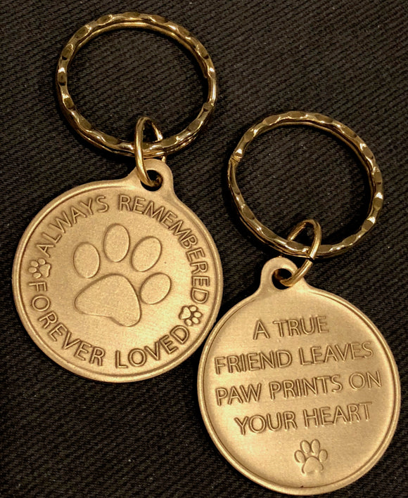 Always Remembered Forever Loved Pet Pawprint Keychain - RecoveryChip
