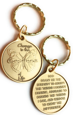 Change Is The Essence of Life Butterfly Bronze Serenity Prayer Keychain - RecoveryChip