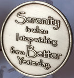Serenity Lake - Serenity Is When I Stop Wishing For A Better Yesterday Bronze Medallion Chip - Recoverychip Design