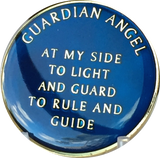 Guardian Angel Midnight Blue Tri Plate Nickel & Gold Plated AA Medallion Pocket Token BSP - RecoveryChip