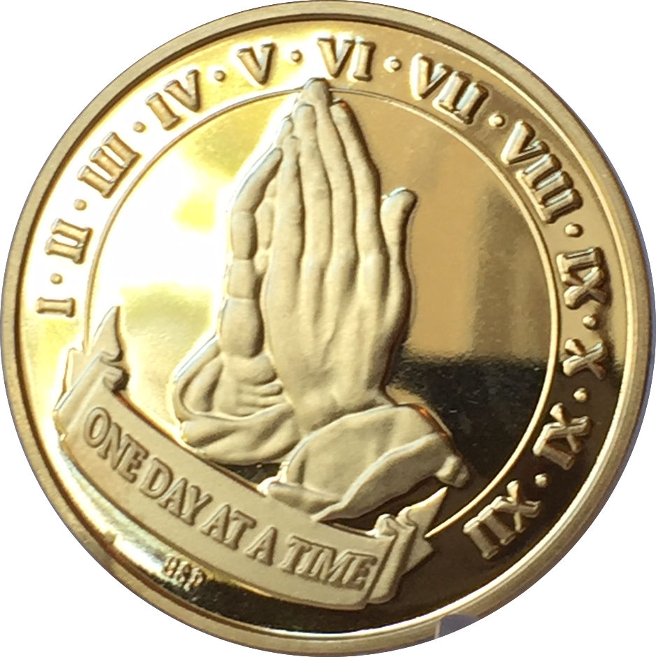 Praying Hands One Day At A Time 22k Gold Plated AA Medallion Chip Serenity Prayer Years 1-12 - RecoveryChip